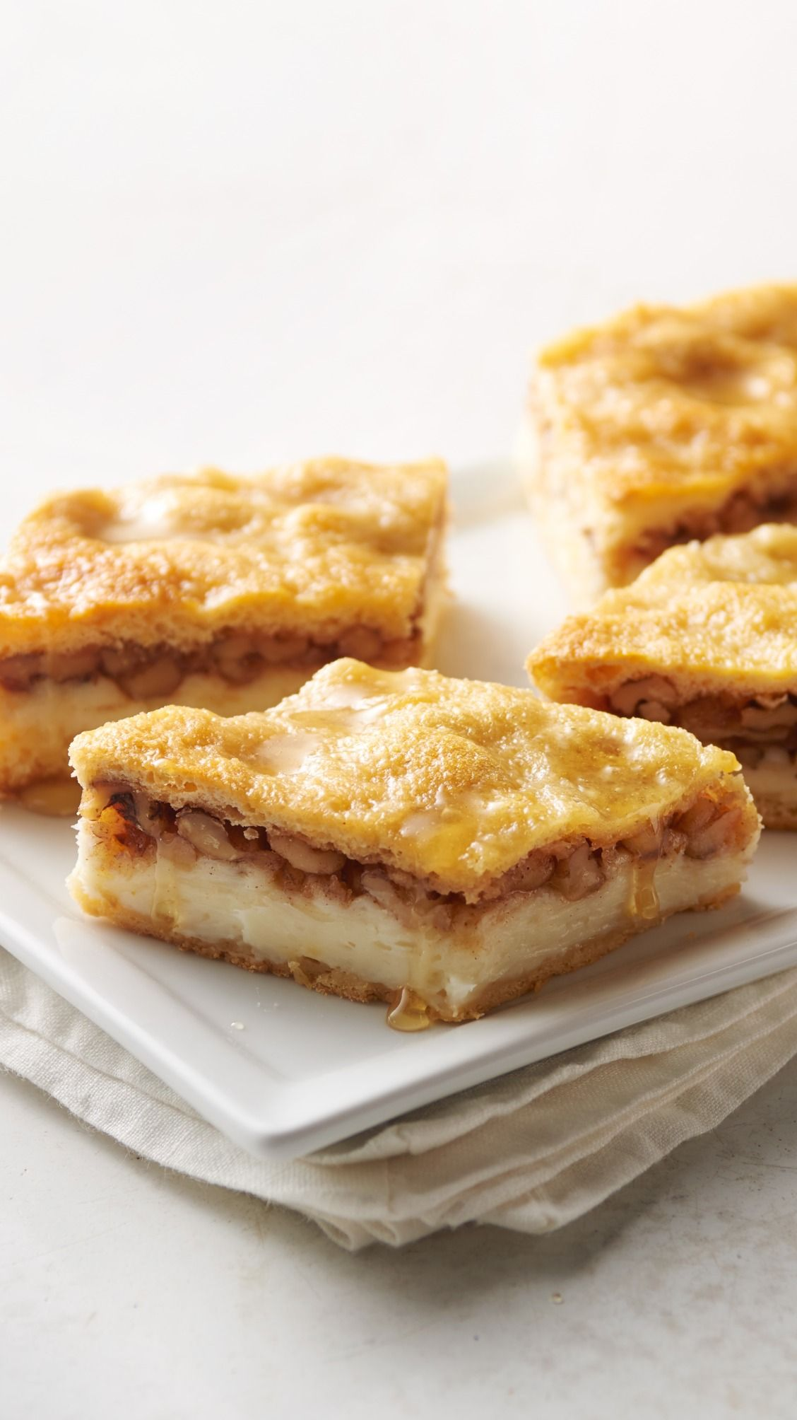 Baklava Cheesecake Bars: We took everyone's favorite buttery, honey-walnut treat (baklava!) and turned it into incredibly easy-but-impressive dessert bar recipe mash-up.