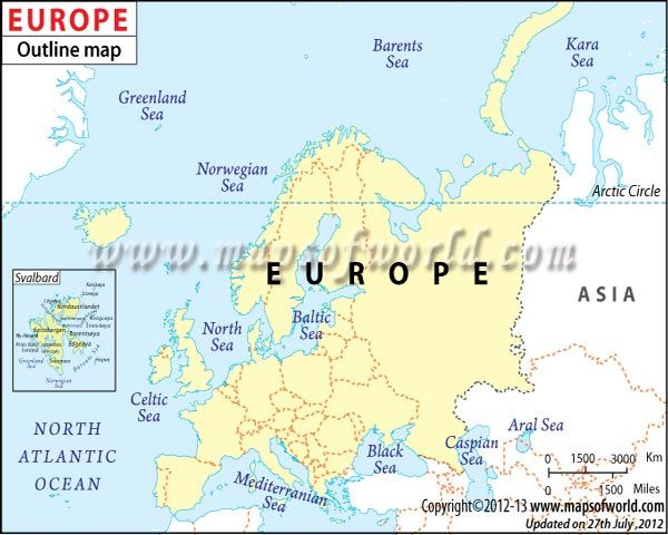 Outline Map of Europe MOW Pinterest Outlines and Europe continent - new ethiopian plateau on world map