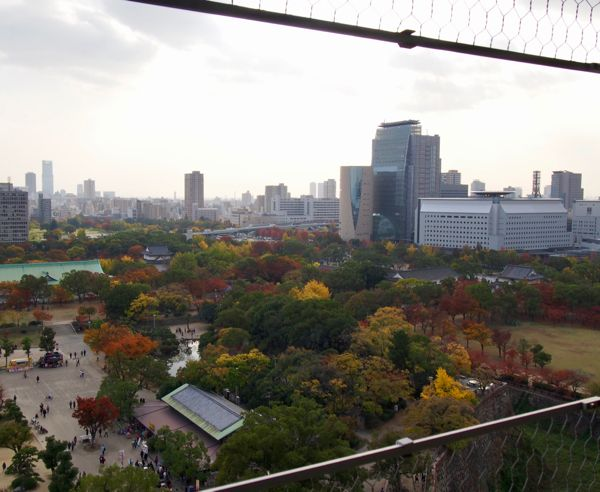 View from Osaka Castle Observation deck in autumn