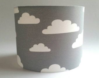 Grey white pitter patter cloudy clouds fabric lampshade cloud grey white clouds fabric lampshade by makehaydesign on etsy mozeypictures Images