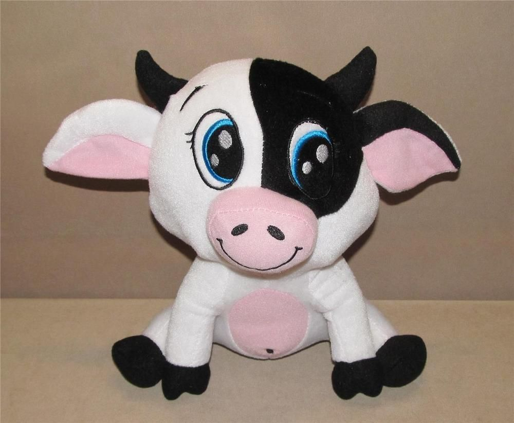 Peek A Boo Toys White Black Cow Bull Plush Stuffed Animal Sitting