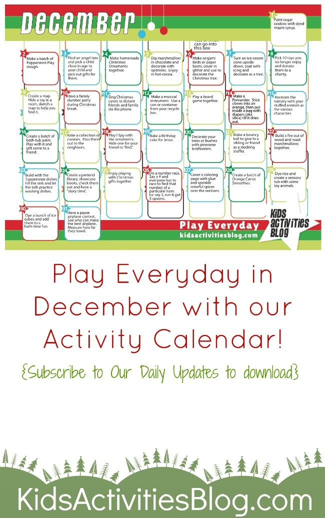 December Activities Daily activities, December and Activities - activity calendar