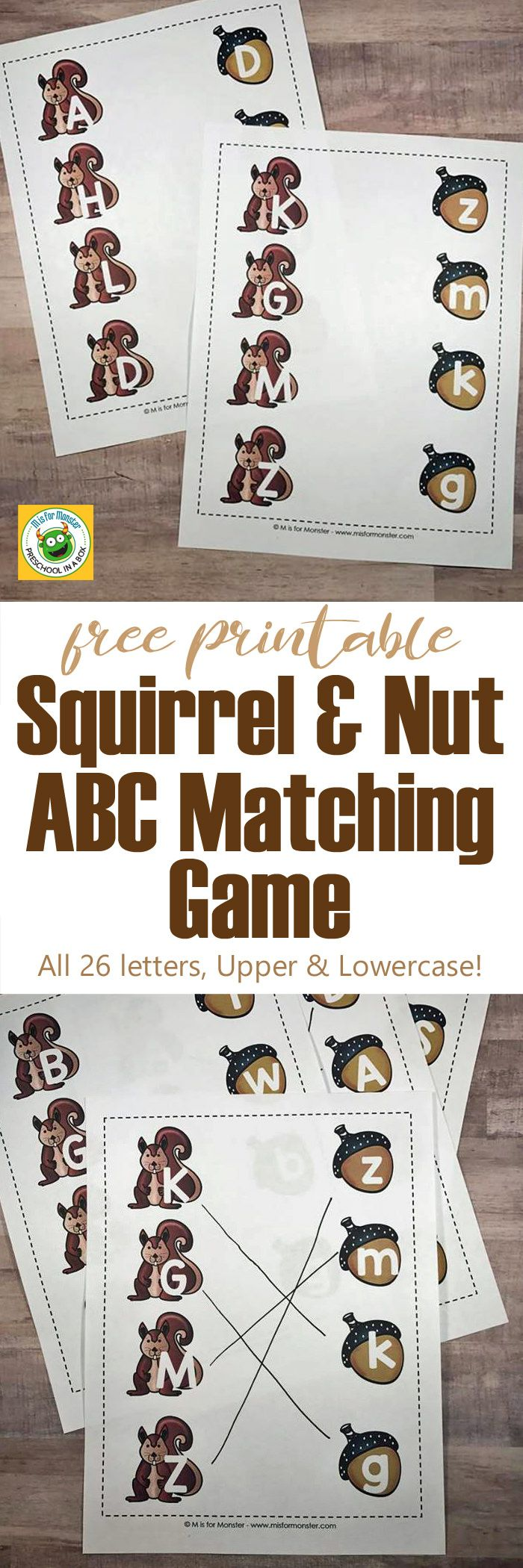 Squirrel And Nut Abc Matching Game Free Printables  Matching Games