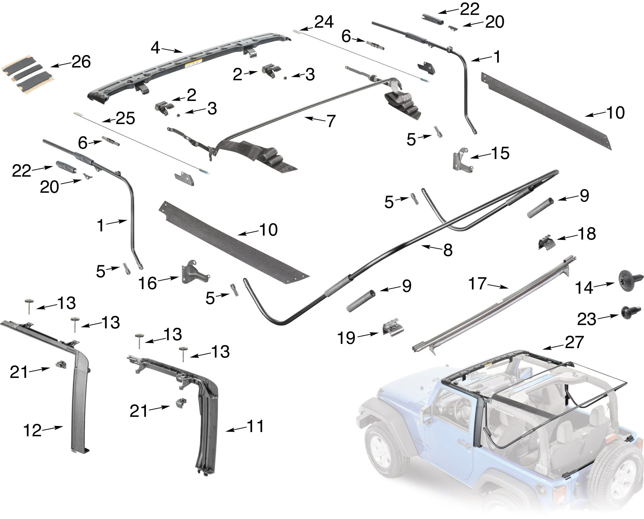 Jeep Wrangler Jk Soft Top Hardware Parts With Images Jeep