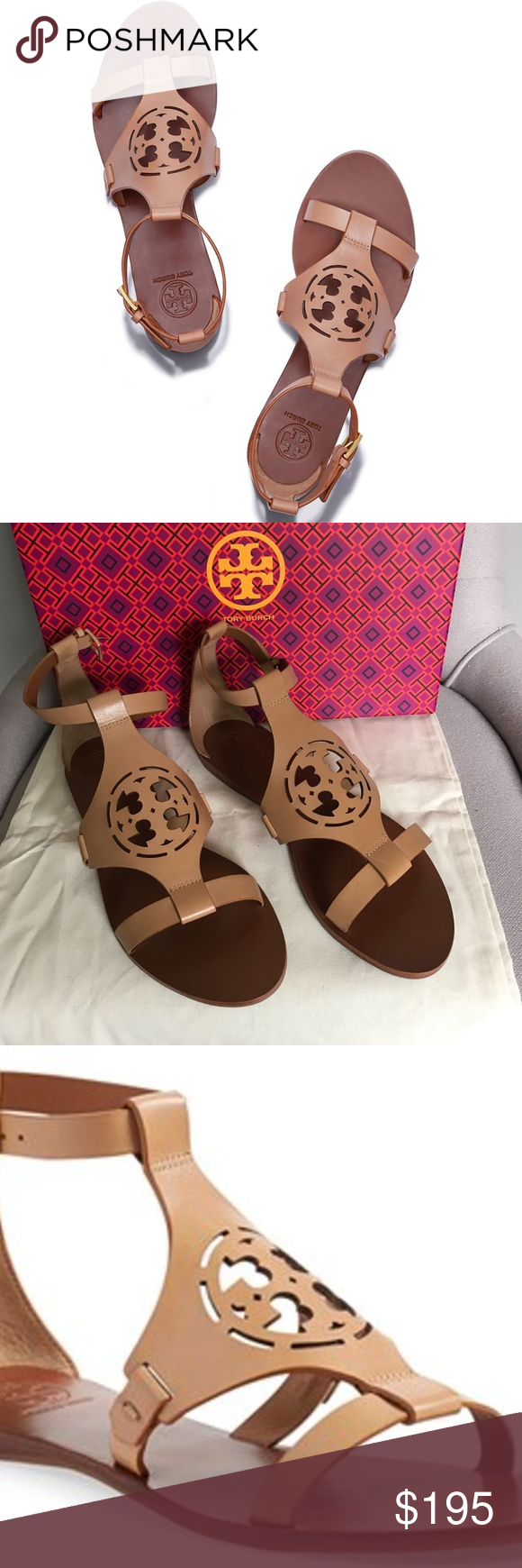 ab6b0135f7383 Tory Burch - Zoey Leather Logo flat sandals Tory Burch Zoey Leather Logo  Flat