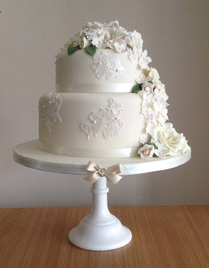 Two Tier White Wedding Cake