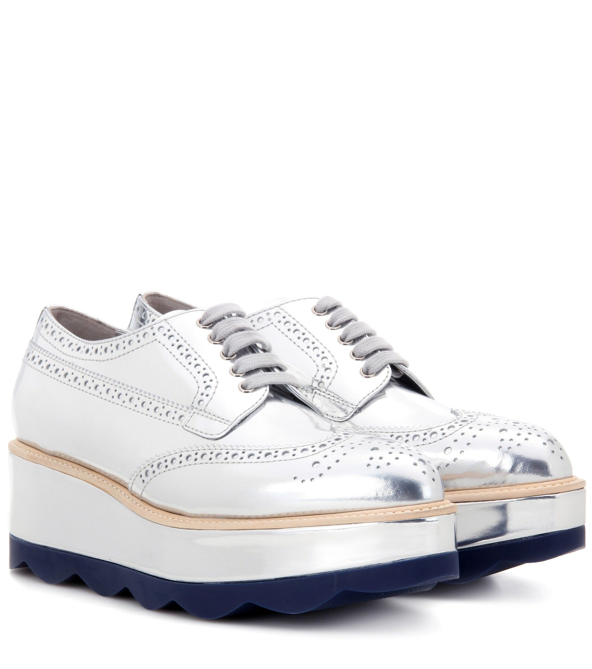 Metallic Leather Platform Brogues - Silver Prada Xo9ERj