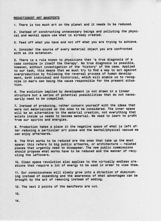 Reductionist Manifesto Via Anarchitecture Art Manifesto Art