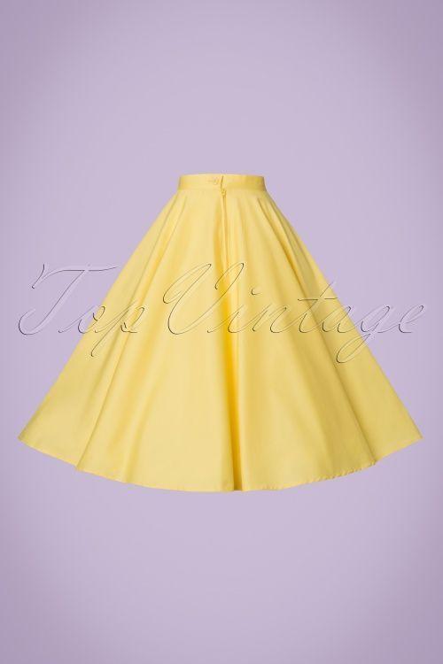 70bd5d2734 Hell Bunny Paula Swing Skirt in Yellow 50s look vintage rok jaren 50 stijl  geel