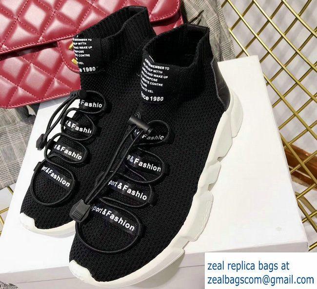 5619b38b3e31a Balenciaga Knit Sock Speed Trainers Sneakers Lacing Black 2017 Luxury Shoes,  Knitting Socks, Black