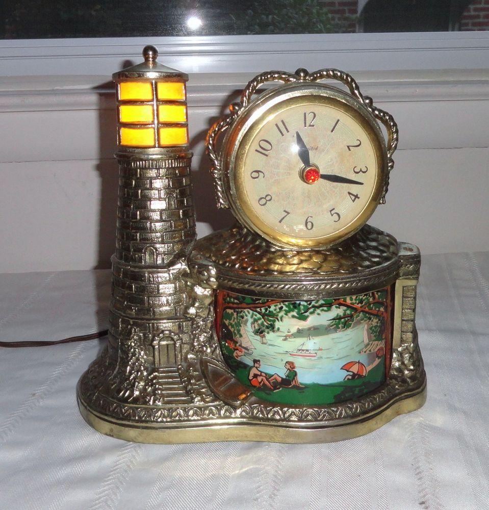 Vintage United Lighthouse Motion Clock 1950s Vgc Works Rare Novelty Clocks Clock Motion Lights