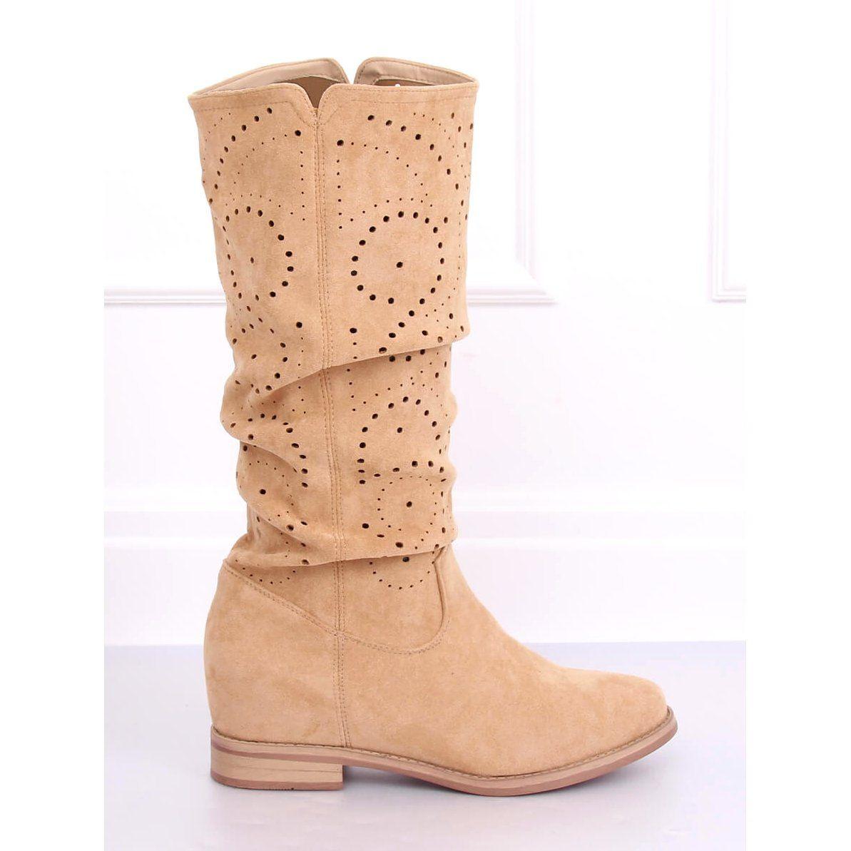Kozaki Azurowe Na Koturnie Bezowe Nc1015 Beige Bezowy Boots Shoes Cowboy Boots