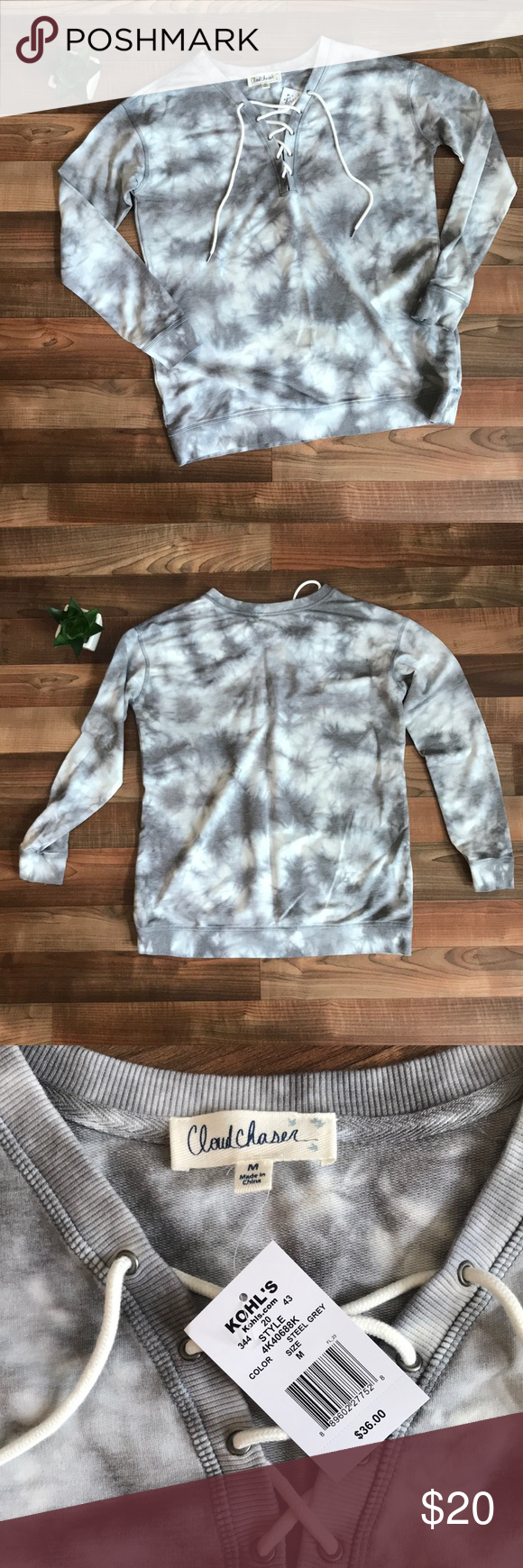 Tie Dye Lace Up Sweatshirt Size M Nwt From Kohl S Cozy Loose Fitting Lace Up Sweatshirt In A Grey Tie Dye Patte Tie Dye Sweatshirt Tie Dye Clothes Design [ 1740 x 580 Pixel ]