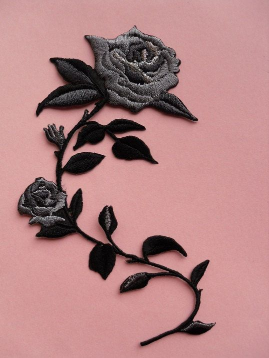 4e73176e6a86b Little but Fierce iron on patch, Flowers applique, Red rose for ...