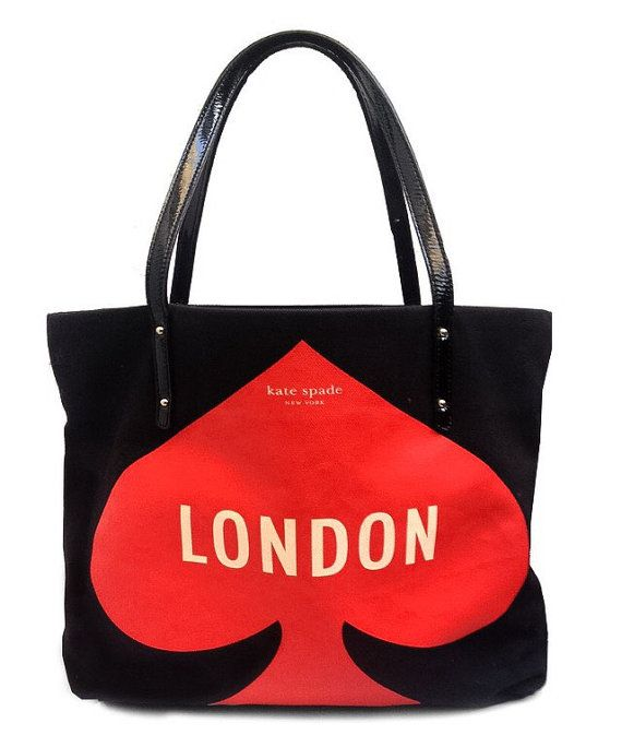 100 Authentic Kate Spade Canvas Tote Bag New York London Featuring Black White Red Colour Combination Patent Leather