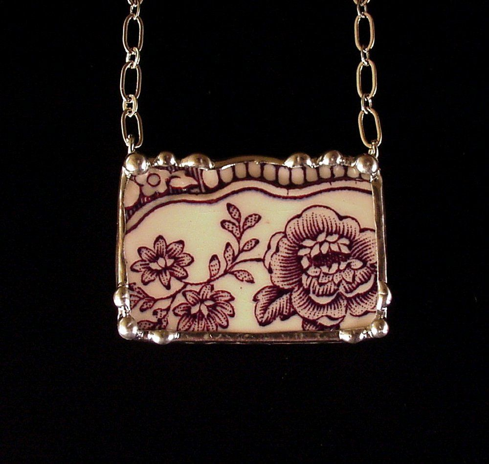 Antique English transferware purple rose floral toile broken china jewelry necklace. $50.00, via Etsy.
