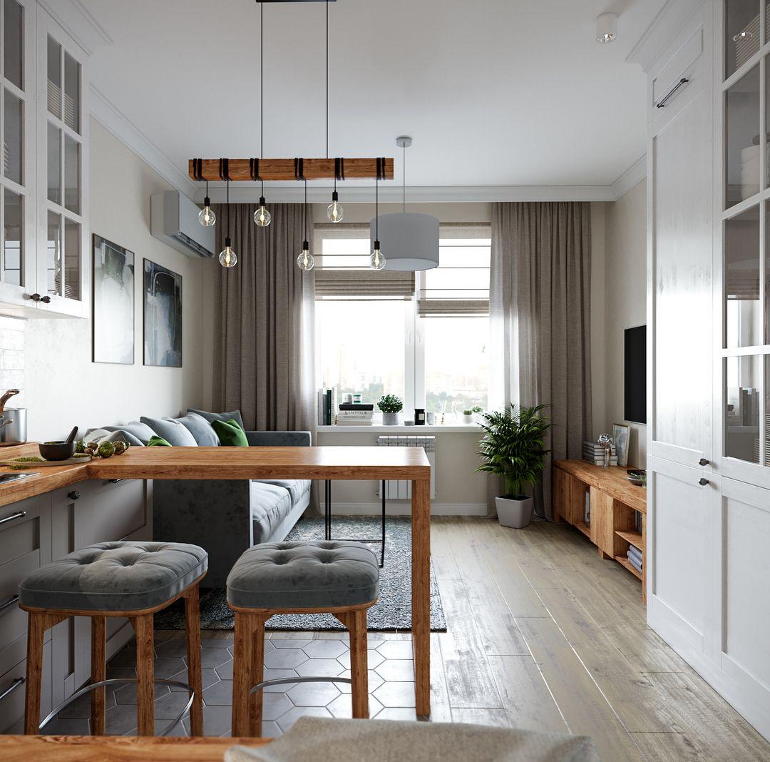 Кухня гостиная в скандинавском стиле в проекте ...