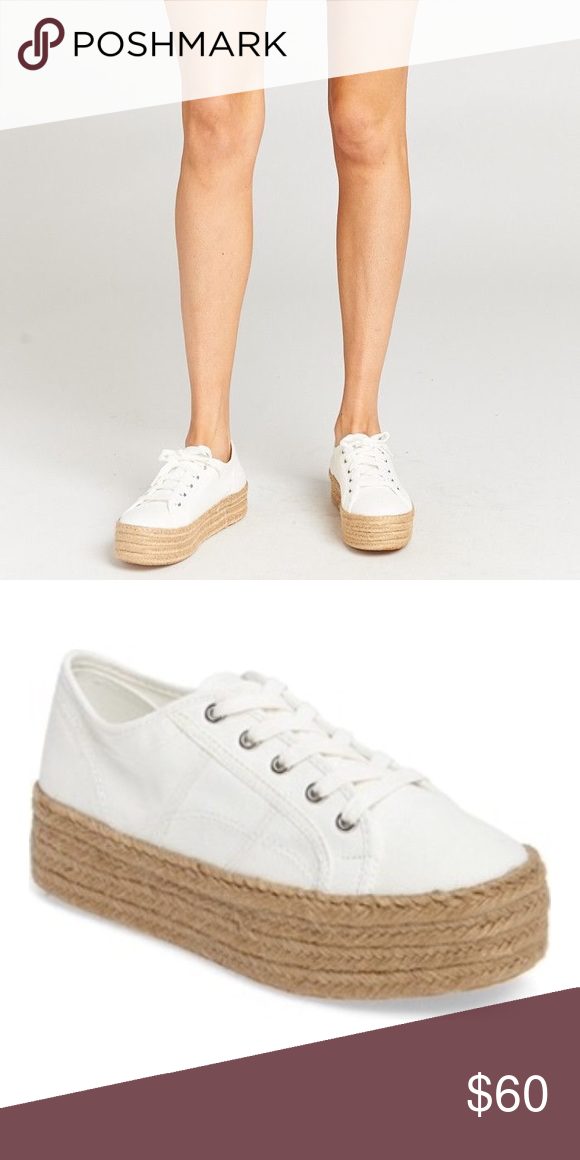 53ac2e2ea016 Steve Madden Hampton White Platform Sneaker Shoe A superchunky espadrille  platform and breezy white canvas put this lace-up sneaker in fine form for  ...