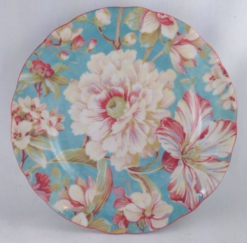 Nib 222 fifth marley teal flowers round salad plates set of 4 | Teal ...