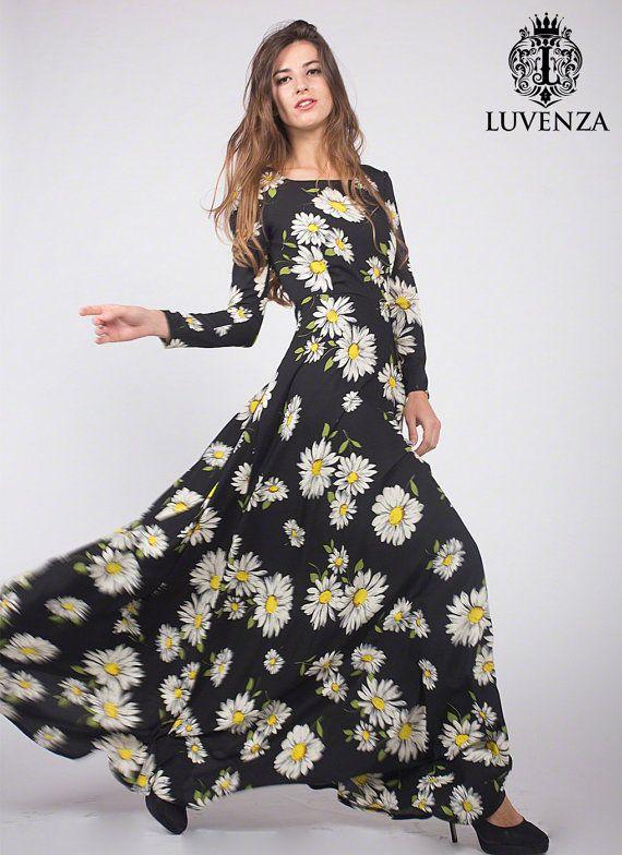 2e7661f033 Floor Length Black Daisy Print Maxi Dress  Trendy Long Sleeve Black Bold  Floral Print Maxi Black Flo