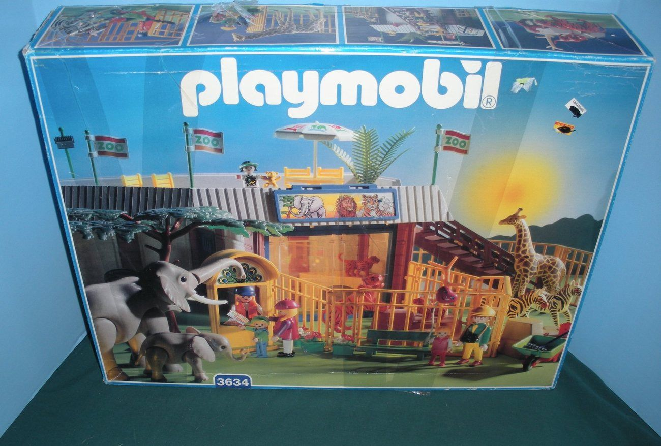 Vintage Playmobil 3634 Animal Shelter Zoo Complete Near