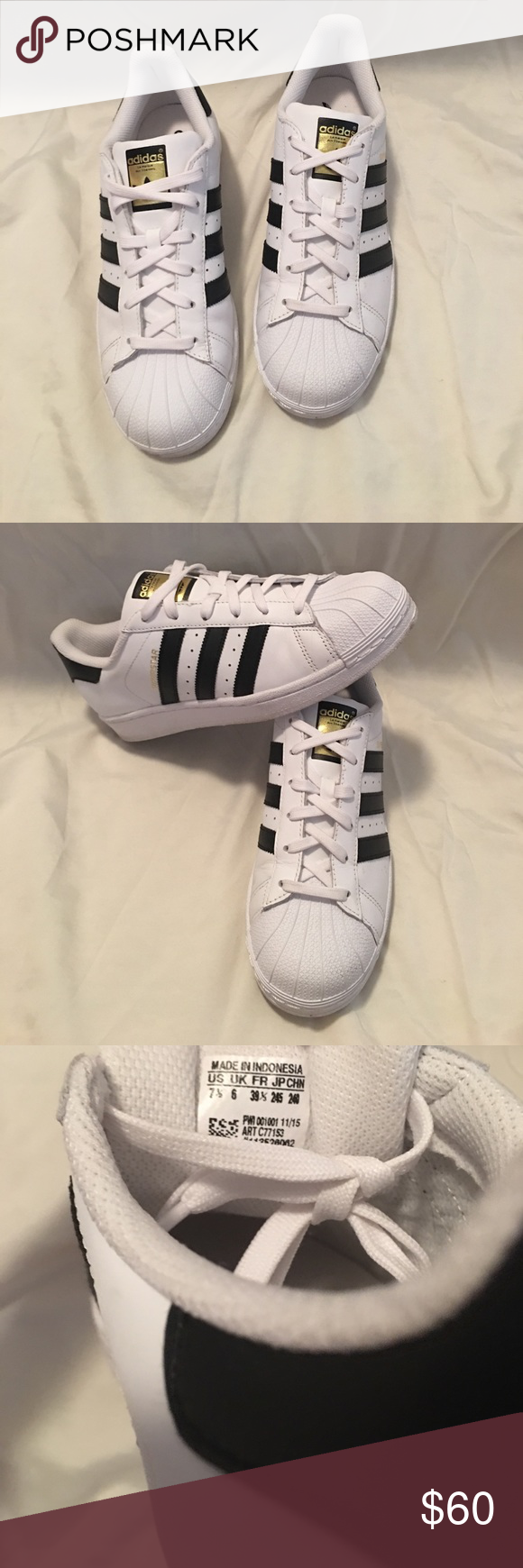 9f0b1b5fa0e2 PRICE DROP ‼ ‼️ADIDAS SUPERSTAR Worn twice. Looked weird on my feet. Size  7.5. I d say the run big. White   black with gold adidas logo Adidas Shoes  ...