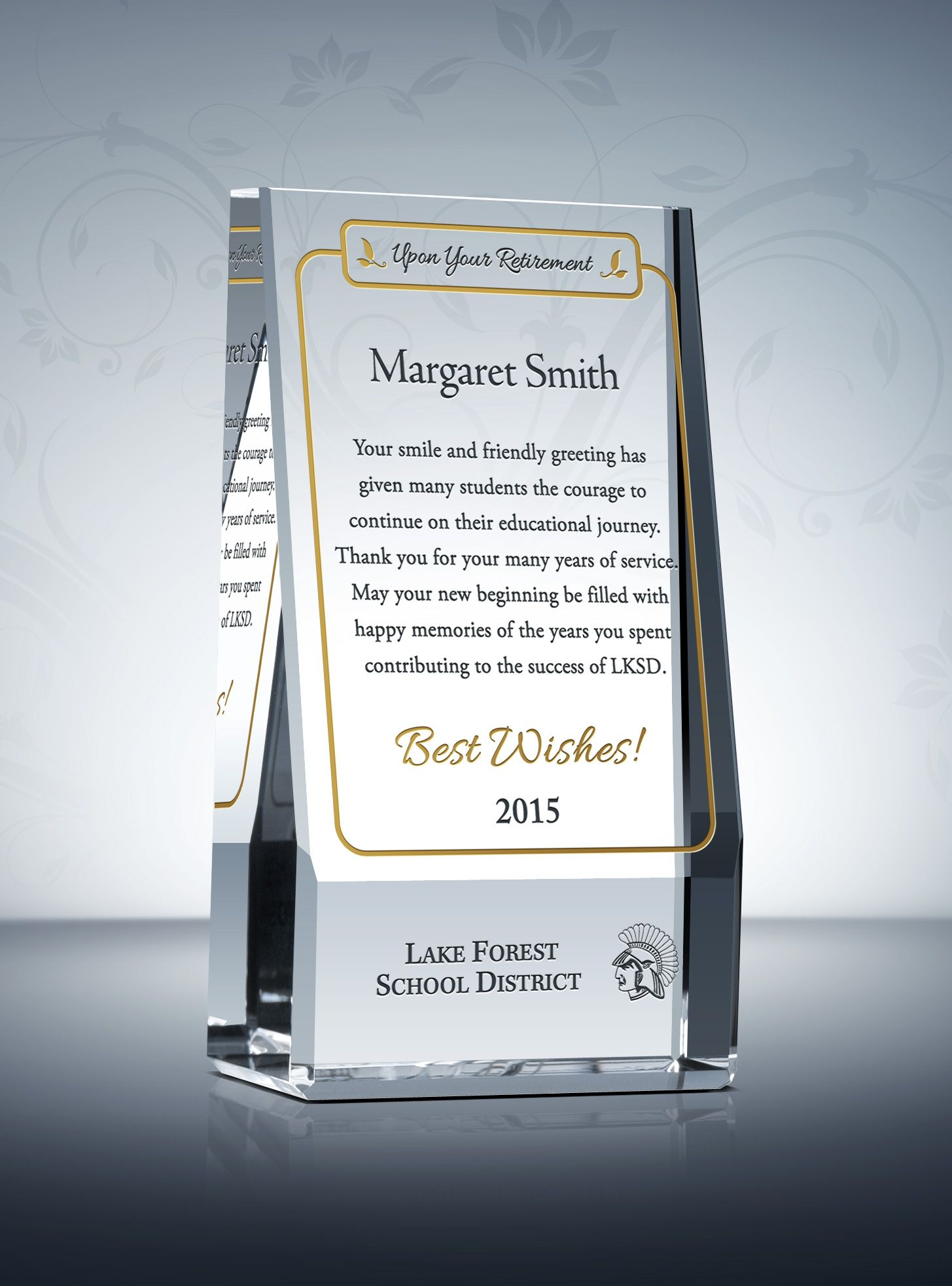 the wedge teacher retirement plaque is a one of a kind self supporting shape with a delicate gold box for engraving your teacher retirement wording