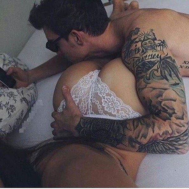 This is what I want..my butt to look that good and a sexy tattooed hunk that loves me that much to hug it!!!