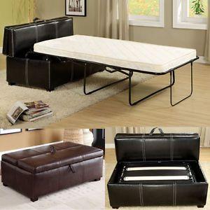 Black Brown Leatherette Storage Ottoman Bench Twin Foldable Bed Sleeper Mattress