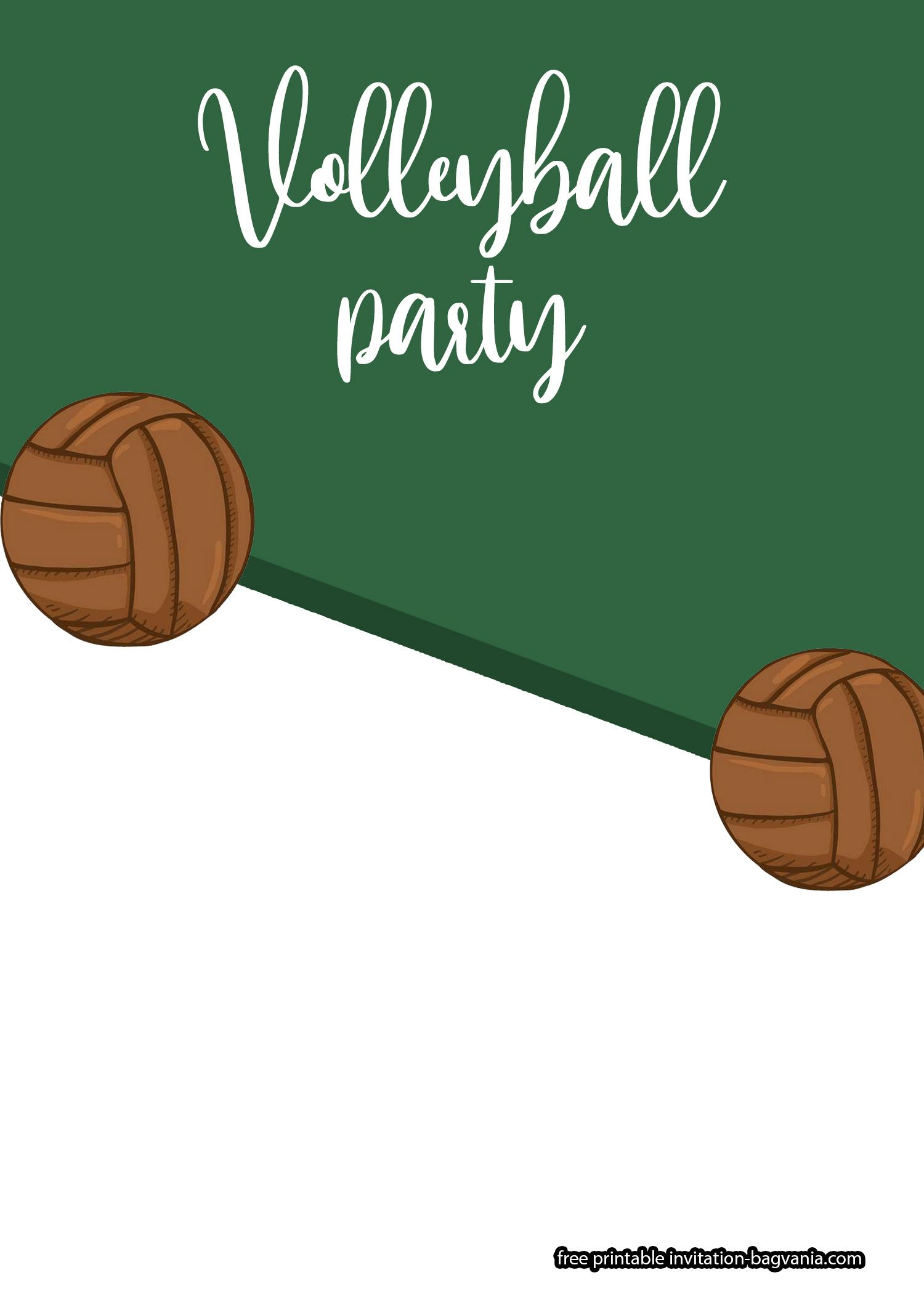 FREE Volleyball Birthday Themed Invitation Templates  Free