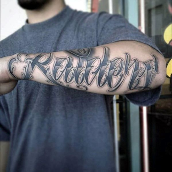 5bcf781b4 Script Lettering Male Oakland Raiders Outer Forearm Tattoo Inspiration