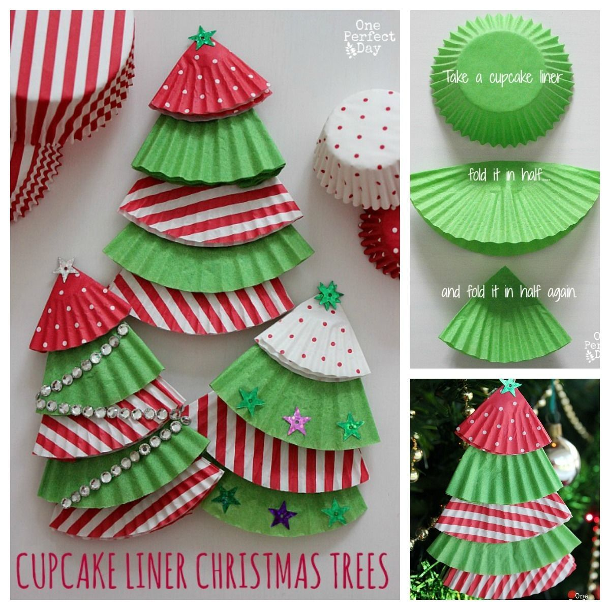 Cupcake Liner Christmas Trees Christmas Party Crafts Christmas Crafts Decorations Christmas Cards Handmade