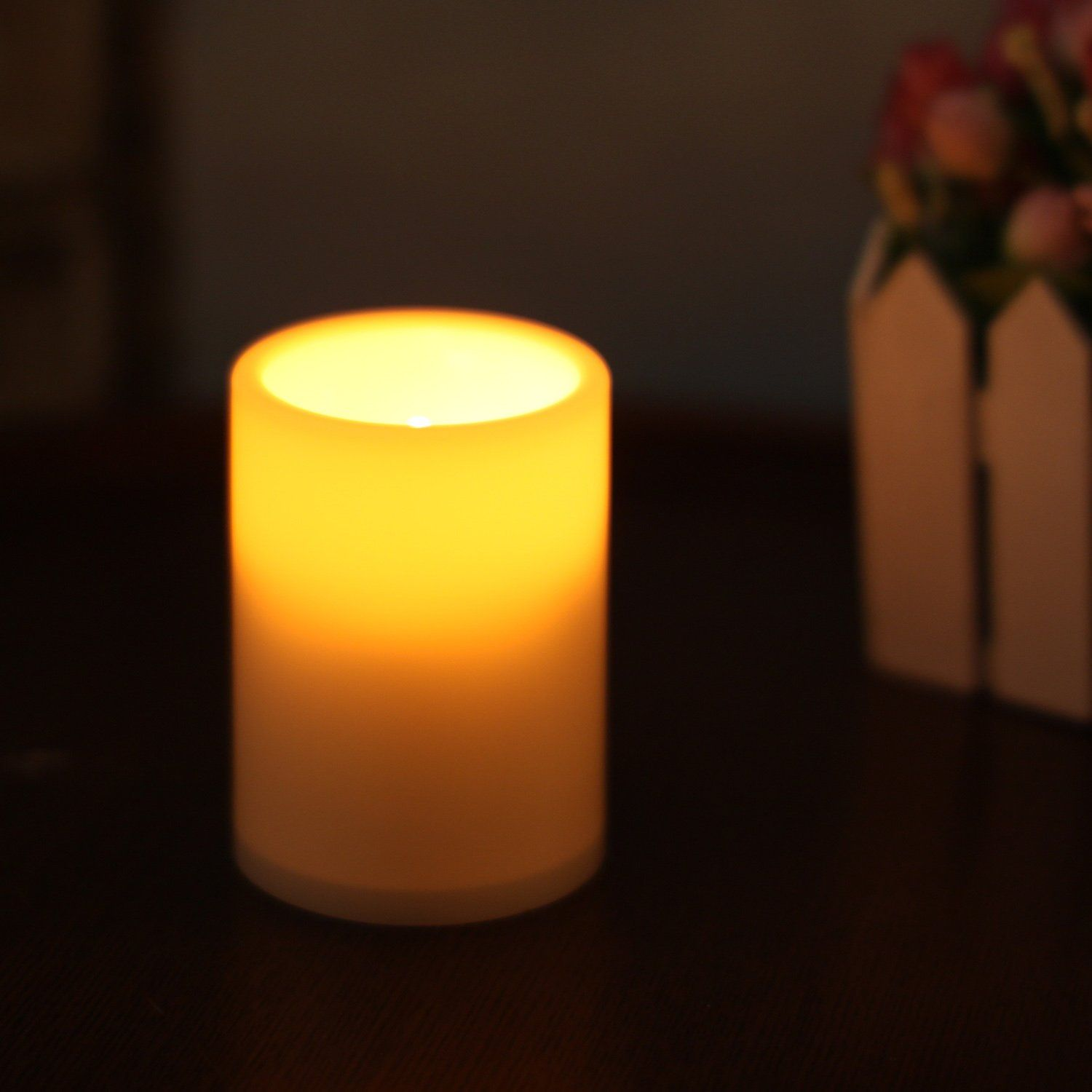 Home impressions flameless battery operated plastic pillar led
