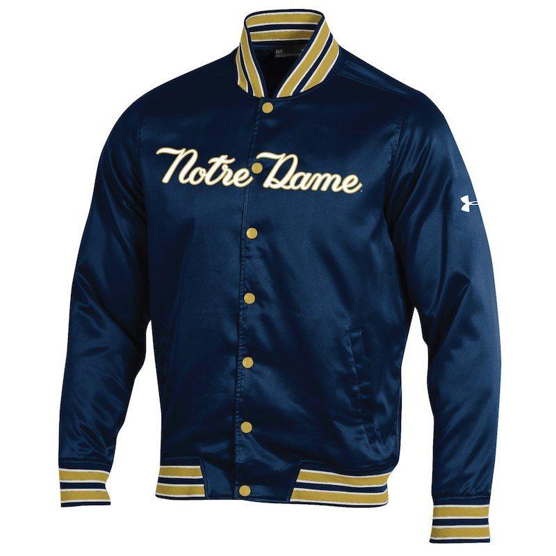 Notre Dame Fighting Irish Under Armour 2018 Shamrock Series Satin Dugout  Full-Snap Jacket – Navy 12aef3df2