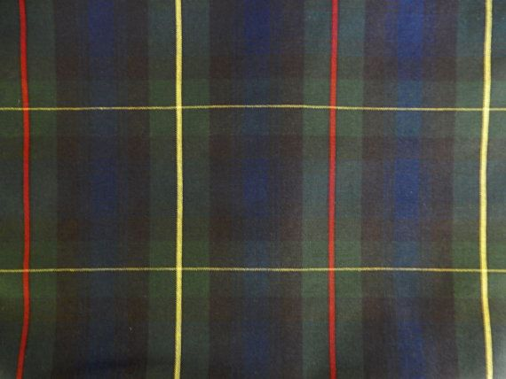 PATTERN: STEWART HUNTING COLORS: BLACK BLUE YELLOW RED SOLD BY THE YARD ... 2 YARD MINIMUM PER FABRIC/PATTERN, PLEASE  60 wide polyester/cotton