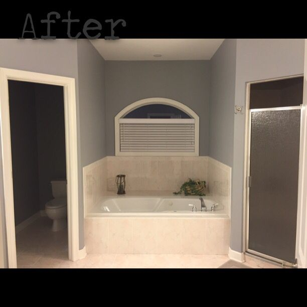 After: Bathroom Repaint Using Behr Ultra Matte Paint In Tin Foil.