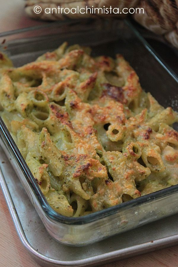 Penne Gratinate alle Zucchine con Ricotta e Mandorle - Baked Pasta (Penne) with Zucchini, Ricotta Cheese and Almonds Sauce