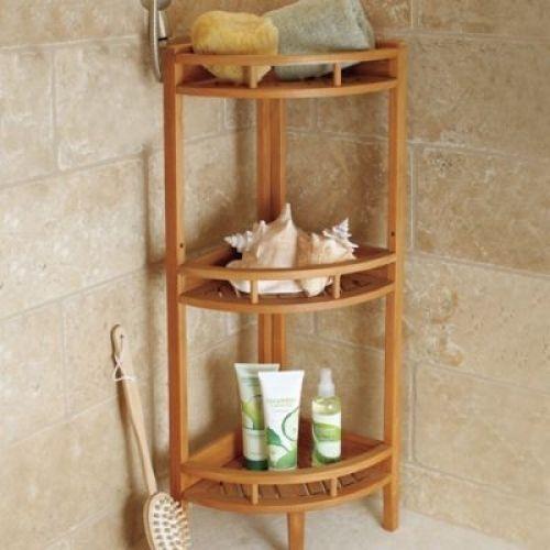Bathroom Teak Corner Stand Shelf 3 Tier Wood Storage Display Organizer Holder Unbranded Teak Shower Shelf Shower Corner Shelf Wooden Corner Shelf