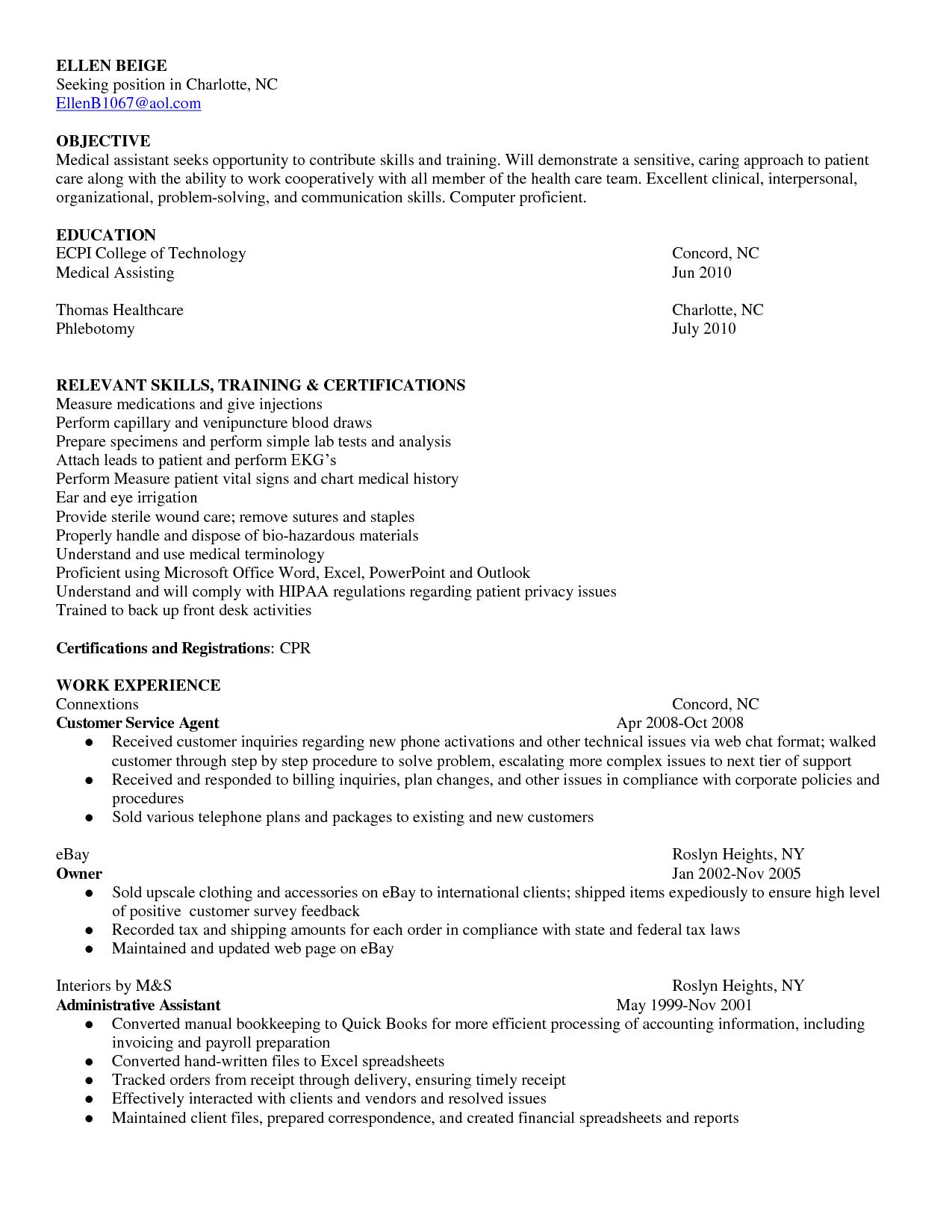 Medical Assistant Resume Skillscareer Resume Template Career Resume Template