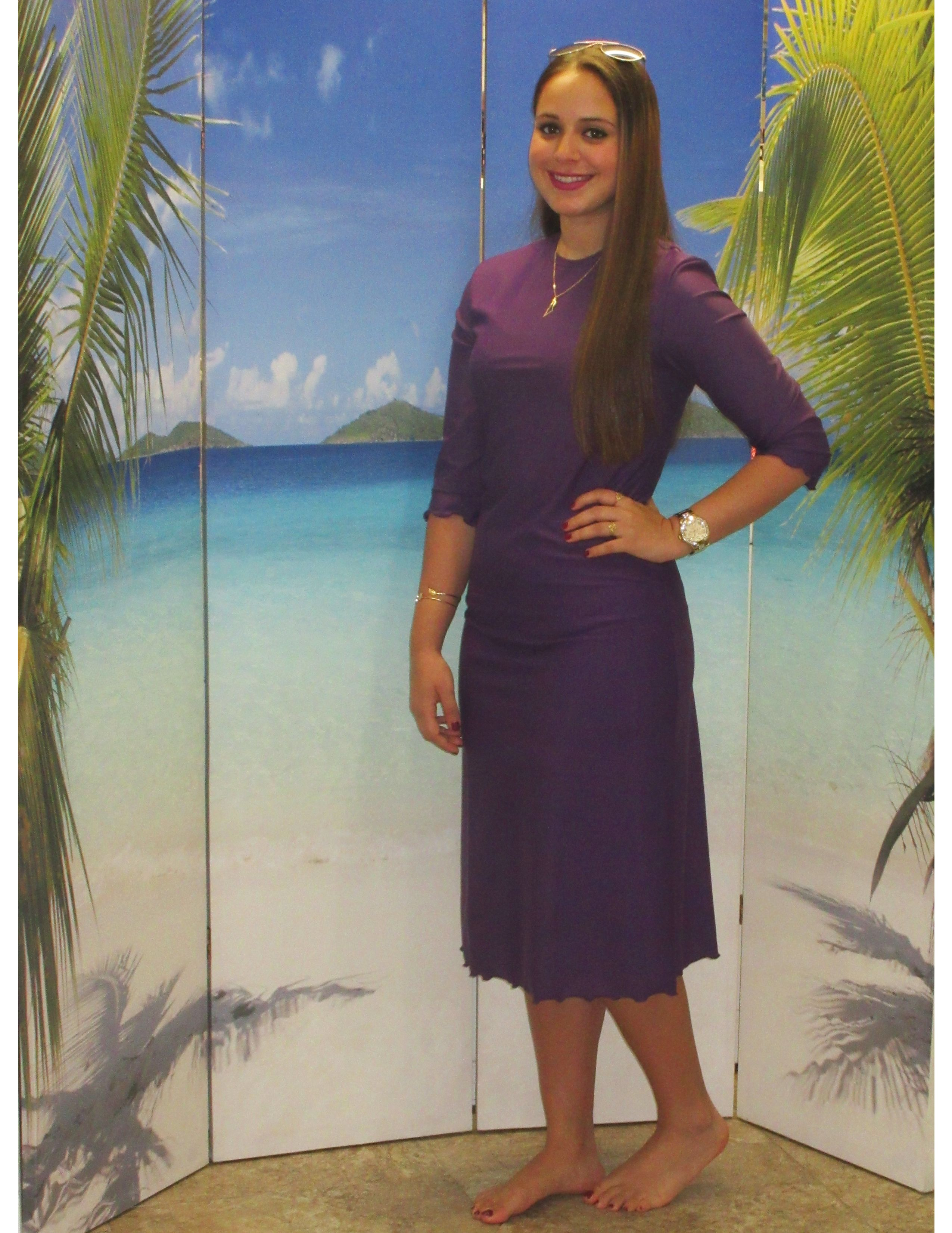 545e337b6dc6b Just in at Aqua Modesta swimwear. style 2600A-1 in violet. Simply elegance  in the popular A-line swim dress for ladies.
