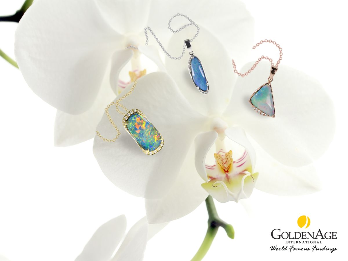 Simple and elegant australia opal pendant set with k gold and