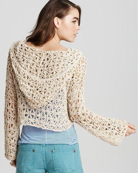 Vection Hooded Crochet Crop Sweater