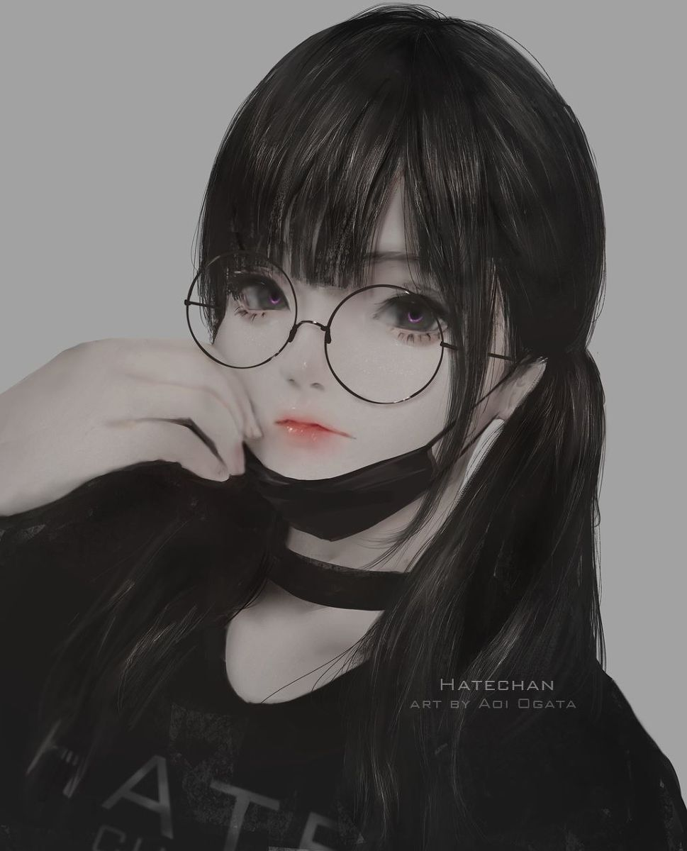 Images Of Black Hair Anime Girl With Circle Glasses