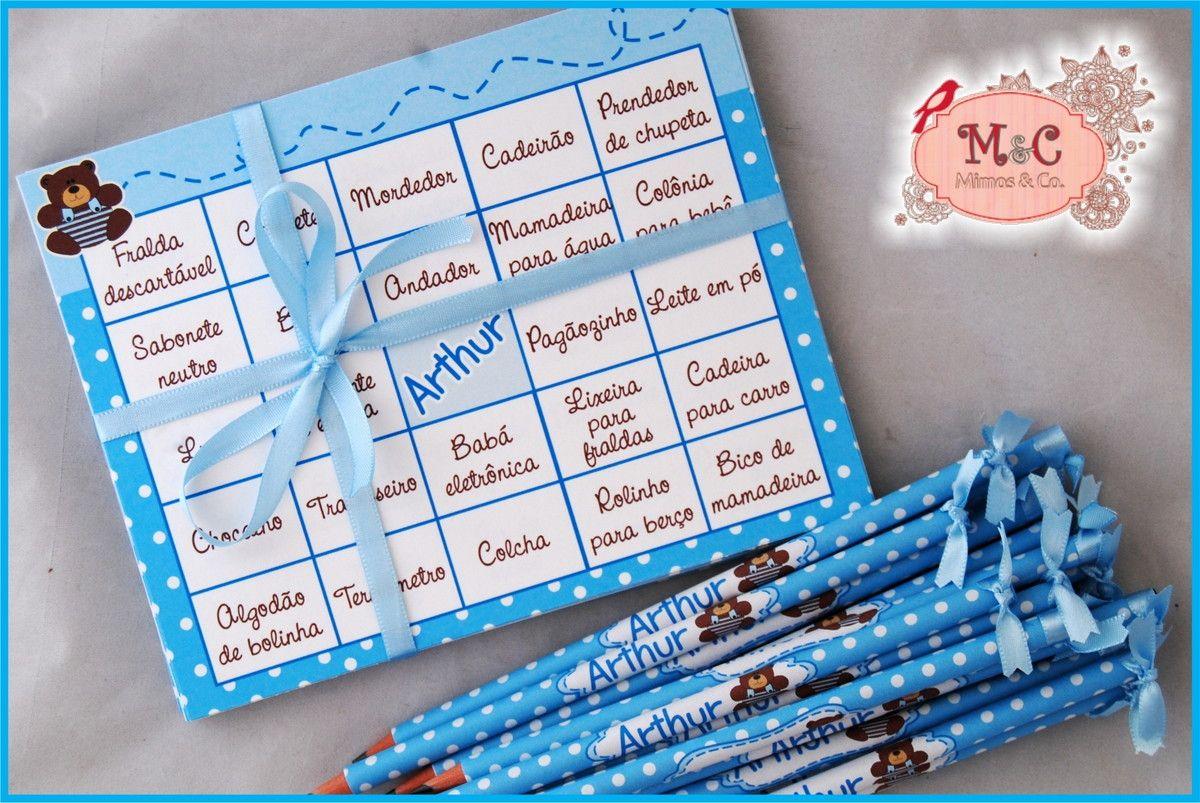 Cartelas para Baby Bingo, tema Ursinho  Poá branco e azul    Ótima opção para brincadeiras em chá de bebê, chá de cozinha, encontro de mulheres e etc.    Cartelas personalizadas com o nome da sua(o) bebe na parte central, as lacunas são com nomes de acessórios para bebês, As folhas podem ser em o...