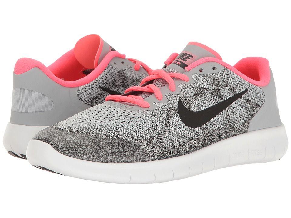 5ac7b93288c00 Nike Kids Free RN 2017 (Big Kid) Girls Shoes Wolf Grey Black Racer Pink  White