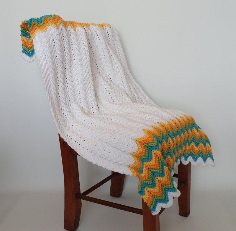 🎁 Crochetar Cobertor Afegãs Branco Azul Amarelo Laranja malha itens decorativos Criações -  /   🎁Crochet  Hooks Blanket Afghan White Blue Yellow Orange Knit Knacks Creations -