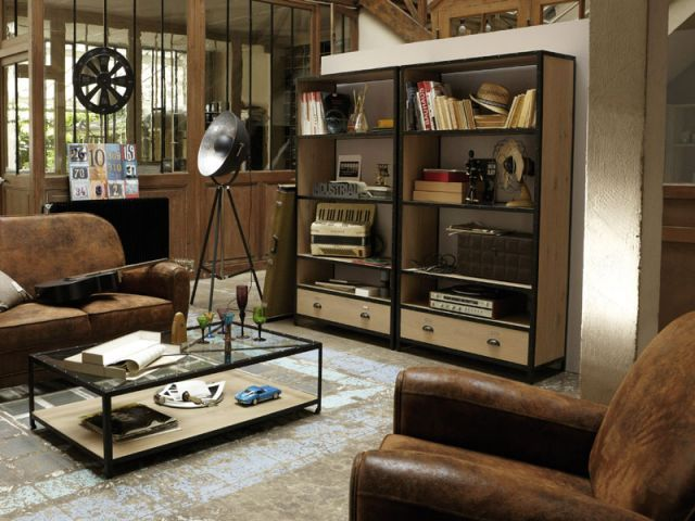de la lampe au papier peint osez le total look industriel style industriel les salon et. Black Bedroom Furniture Sets. Home Design Ideas