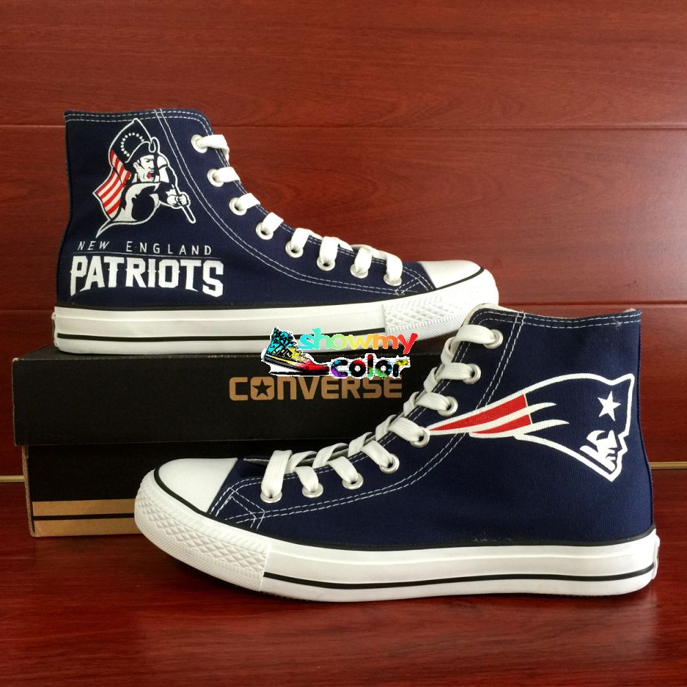 cool NFL Converse Shoes High Top Hand Painted New England Patriots Super  Bowl Sneaker Blue Canvas