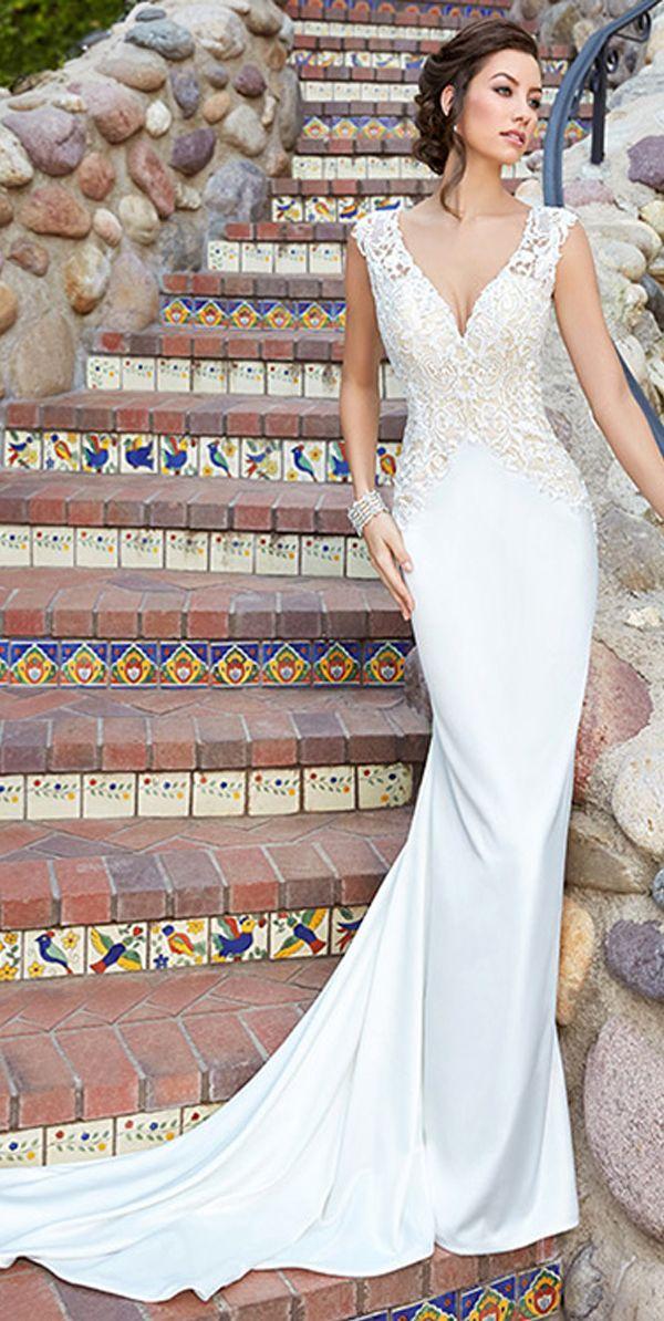 Fabulous Lace & Acetate Satin V-Neck Sheath Wedding Dresses