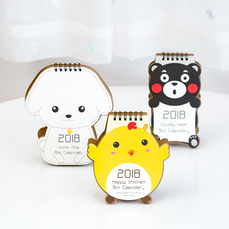 Buy Cheap 2018 Cartoon Animal Dog Calendar Cute Mini Desktop Paper Calendars Daily Scheduler Table Planner Yearly Agenda Organizer Calendar